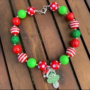New Grinch Christmas Necklace Chunky Bubblegum